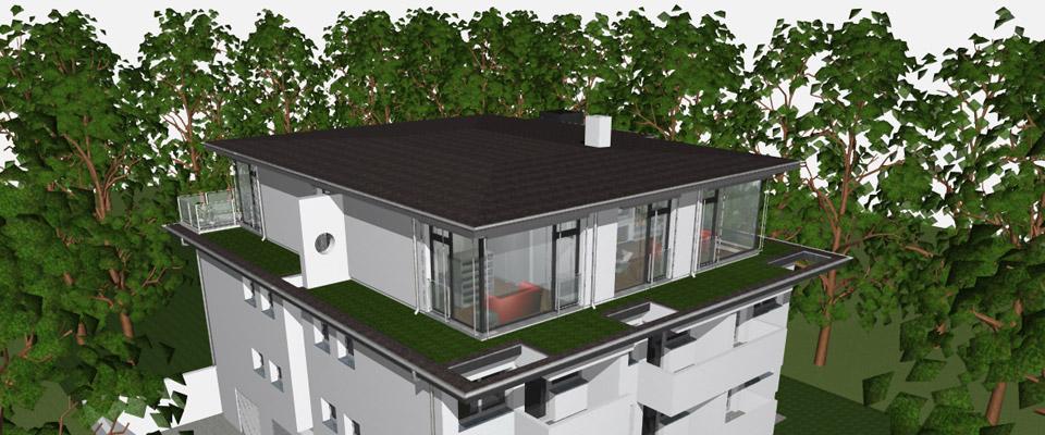 Das Penthouse – im Bauhaus Style geplant - erstreckt sich über das komplette Gebäude und bietet daher allen Luxus sein individuelles Leben nach belieben auszufüllen.  Die umlaufende Grüne Wiese, bezaubert durch ihr zartes Grün und macht jeden Tag zu einem besonderen Tag in dieser Stadt.